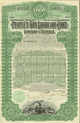 1898 People's Gas Light and Coke Company of Buffalo New York bond certificate