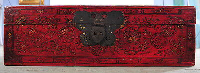 "Chinese  Antique 20x30"" Red Painted Trunk Box"