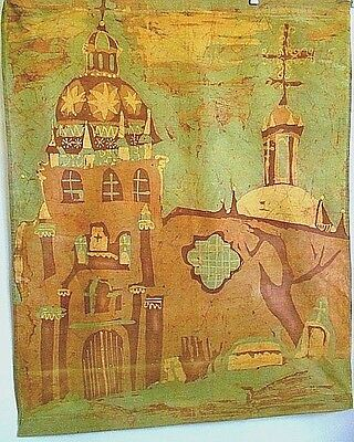 Batik Hand Dye Printed Screen Textile Art Spain Spanish Church Wall Hang Vintage