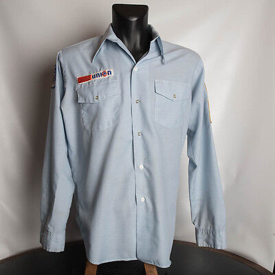 Vintage Union 76 Certified Master Technician Mechanic Shirt With Patches Large