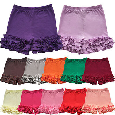 Girls Kid's Bottoms Toddler Girl Shorties Triple Ruffle Shorts Boutique Icing