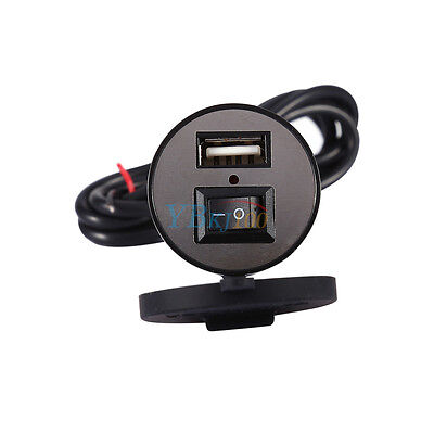 12V Motorcycle Mobile Phone USB Electric Power Charger Port Switch Waterproof LJ