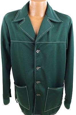 Vintage 1970's FARAH Green Polyester Leisure Suit Jacket M