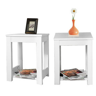 2pcs Pine Side Table 2 Tiers Lamp Table Coffee End Table Bedroom MDF Wooden