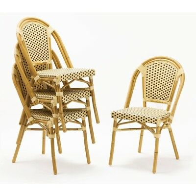 4x Bistro Wicker Side Chair Continental Bolero Chairs Cafe Outdoor Furniture