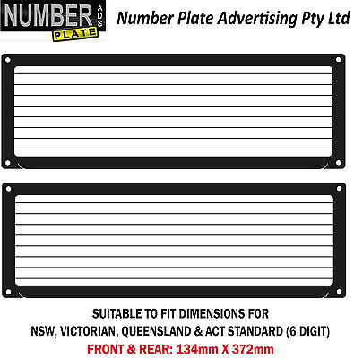 Number Plate Cover 6 Digit Screw On with pinstrip lines - (NSW,QLD,VIC,ACT,WA,SA