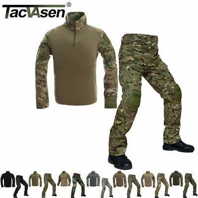 TACVASEN Tactical Combat Uniform Sets Mens Shirt Cargo Army Pants Military Shirt