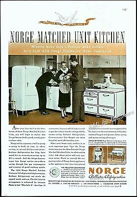 1936 NORGE Kitchen APPLIANCE Refrigerator Stove Washer Ironer Vtg 1930s PRINT AD