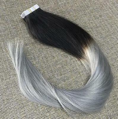"""PU Tape in Skin Weft Remy Human Hair Extensions Ombre 1/GREY Black Grey 16""""20Pcs"""