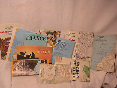 12 vintage map lot   National Geographic1960's 1970's France Middle East America