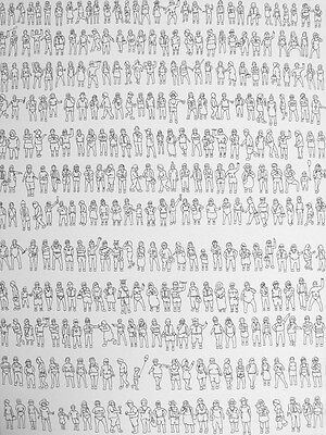 Eddie BOTHA - 'St Kilda People ' - ink on paper - 75 x 56 cm - FRAMED