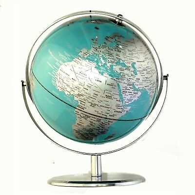 EXQUISITE HIGH QUALITY Double Axle World Globe Teal Chrome Home Decor Gift 25cm