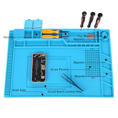 Heat Insulation Silicone Station Pad Soldering Repair Maintenance Platform Blue