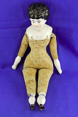 """Antique China Shoulder Head Doll """"helen"""" On Abc Cloth Body"""