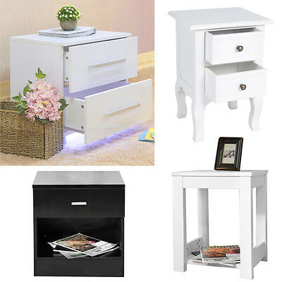 LED Bedside Table Pine Side Table Bedside Cabinet in White with Drawer/shelve