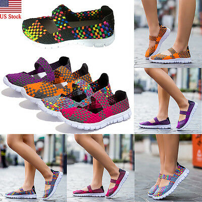 US Women Summer Sport Slip On Elastic Flat Shoes Breathable Casual Sandals Size