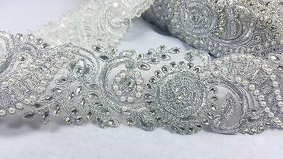 7.5cm- 1 meter Gorgeous silver floral beaded lace trimming edging with pearls