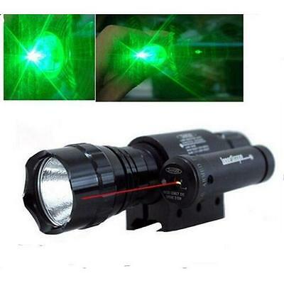 Combo Zoom CREE Green Laser Flashlight Torch with Red Dot Laser Sight For Rifle