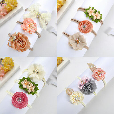 3 Pieces/Set Newborn Baby Girl Headband Bow Flower Elastic Hair Band Accessories