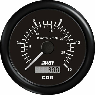 AWN Speedomètre Indicateur de vitesse 0-60 Noeud 0-110 km/h noir