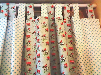 "TAB TOP BLACKOUT CURTAINS IN CATH KIDSTON COWBOY STAR DUCK EGG BLUE 54""d x 42""w"