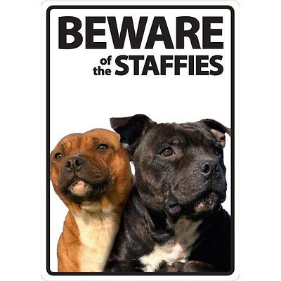 Beware Of The Staffordshire Bull Terrier's A5 Plastic Sign