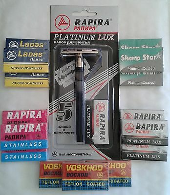 Rapira 3-Piece Safety Razor / 5x Blades + Your Choice Of 15x Russian DE Blades