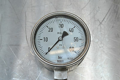 WIKA Hydraulic Manometer 0 - 60 Bar / 100 MM (D), 50 MM (B) Very Good Condition