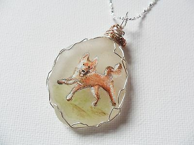 "Happy dog necklace, hand painted to order - 18"" silver plated starry chain"