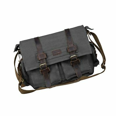 S-ZONE Vintage Canvas Leather Trim DSLR SLR Camera Shoulder Messenger Bag Gray