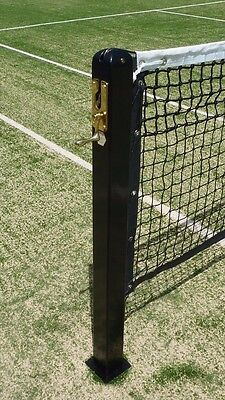 "Tennis Posts 3"" Square With Stud Fittings & Lacing Bars - Black"