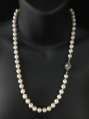 Vintage German 8Mm Saltwater Pearl Single Strand Necklace Boxed - 849