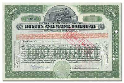 Boston and Maine Railroad Company Stock Certificate