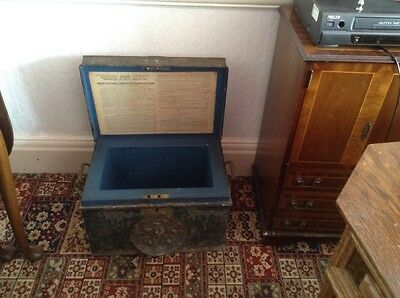 antique fire safe with original papers in need of restoration, very heavy.
