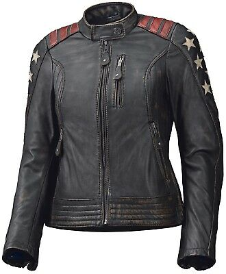 Held Laxy schwarz braun Damen Motorradjacke Lederjacke Stars and Stripes