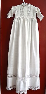 Antique Vintage Christening Gown Extra Long Infant Girl Lace Cotton Detailing