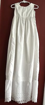 Antique Vintage Christening Gown Extra Long Infant Girl Lace Cotton Sleeveless
