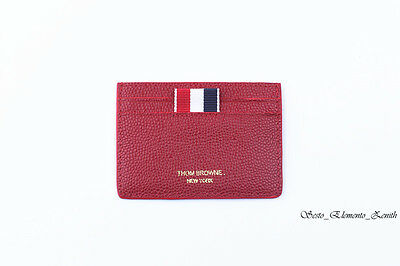Thom Browne Classic Red Pebbled Grain Calfskin Leather Card Holder 55% OFF