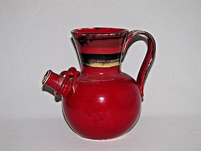 Italian Red Pottery Pitcher with Wrapped Spout Hand Made Sara Ceramics Vietri