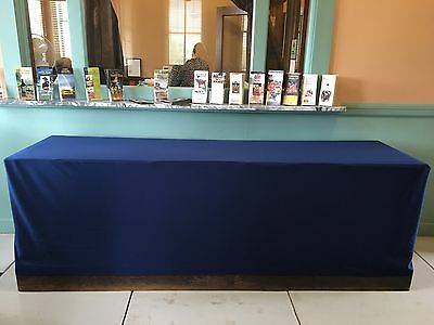 8' Fire Retardant Table Cover Use Antique/Trade Show Display Navy Blue Dbl Knit