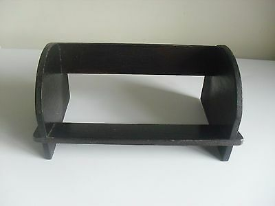 VINTAGE SMALL DARK OAK BOOK REST STAND TROUGH SHELF, IDEAL FOR CD OR DVD's