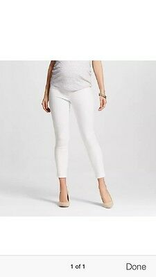 Liz Lange Maternity White Jeans Pants Over Belly Ankle Skinny Size XL Or XXL