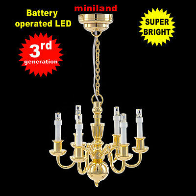 6 arms chandelier Bright battery LED LAMP Dollhouse miniature light 1:12 BRASS