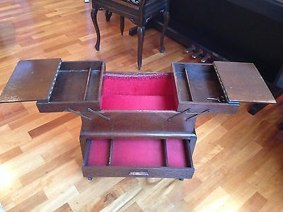 Vintage Antique Tall Sewing Box Solid Wood On Wheels