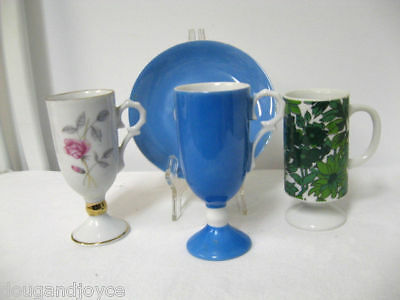 Lot 3 Older NAPCO, Japan Pedestal  (3) Cups & (1) Saucer-Floral & Blue