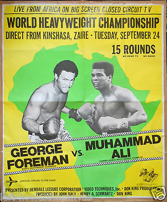 """1974 MUHAMMAD ALI v GEORGE FOREMAN large format closed circuit poster 39"""" x 47"""""""