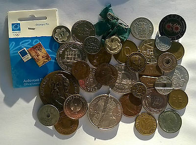COLLECTION OF 31 VINTAGE WORD TOKENS, MEDALLIONS, PINS,JETONS e.t.c. !!!