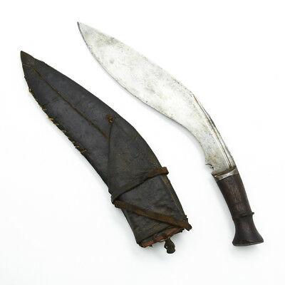 Antique Nepalese Gurkha Bhojpure Kukri Fighting Knife with Soft Leather Scabbard