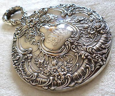 Antique Gorham Sterling Silver Vanity Hand Mirror Floral Repousse Theodore Starr