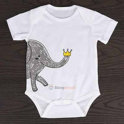 Summer Infant Newborn Baby Girl Boy Elephant Bodysuit Romper Jumpsuit Outfits